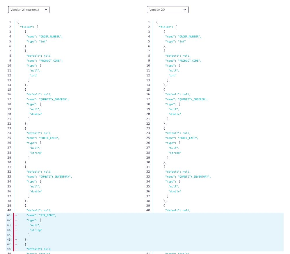 Connector evolves a schema properly including zip_code