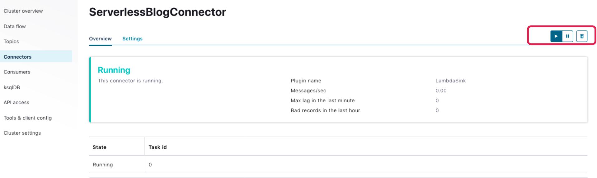 ServerlessBlogConnector | Overview | Running