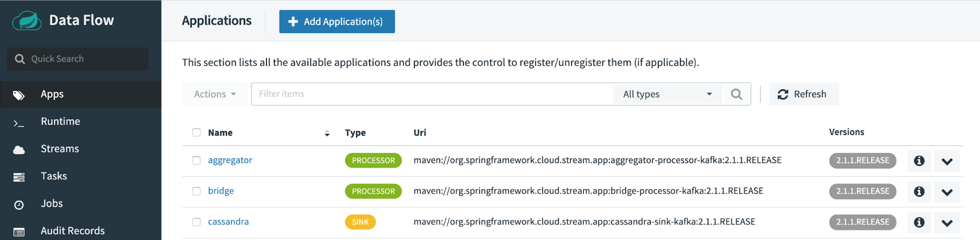 Spring Cloud Data Flow | Add Applications