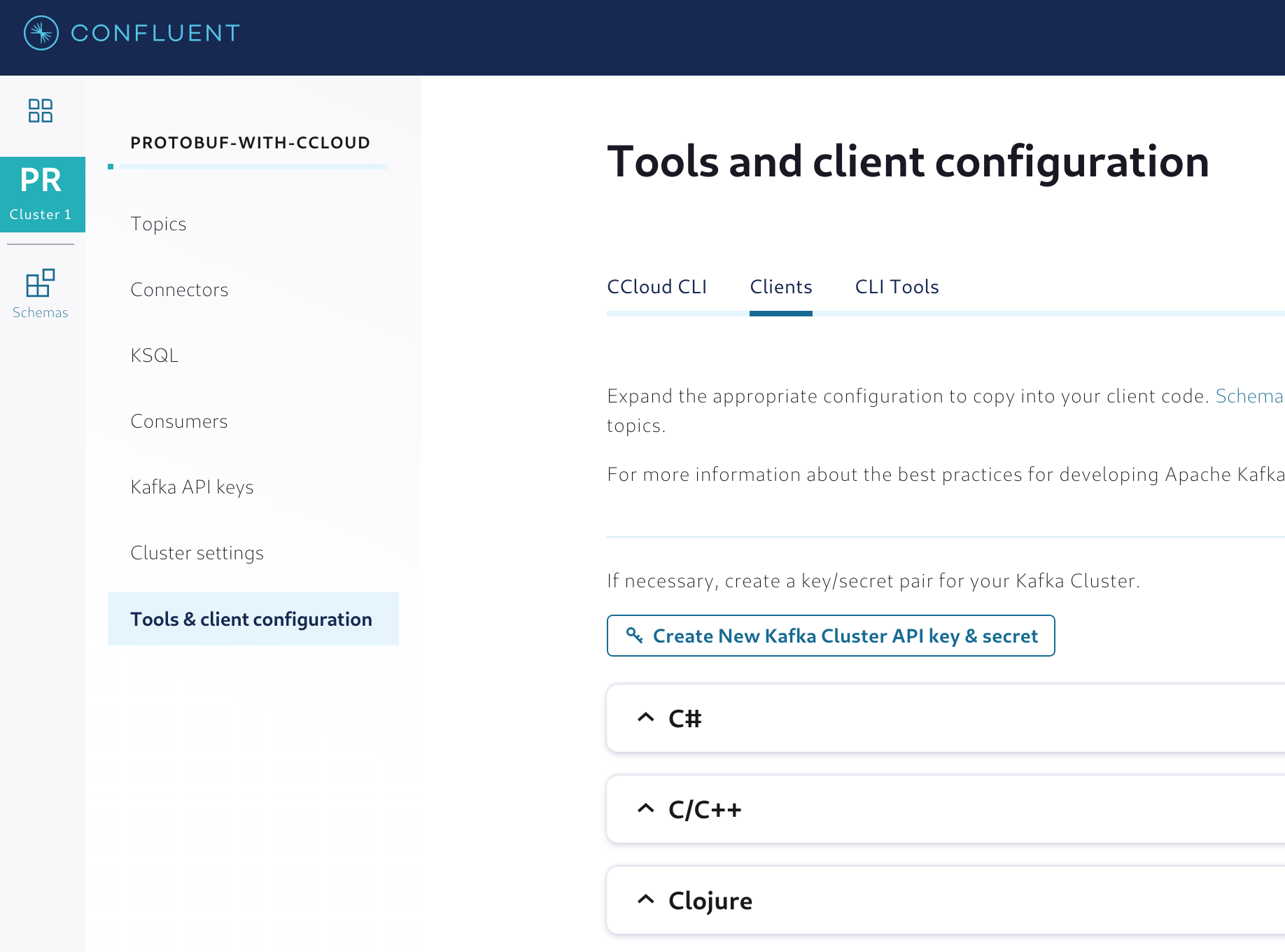 Generating the client configuration for the applications