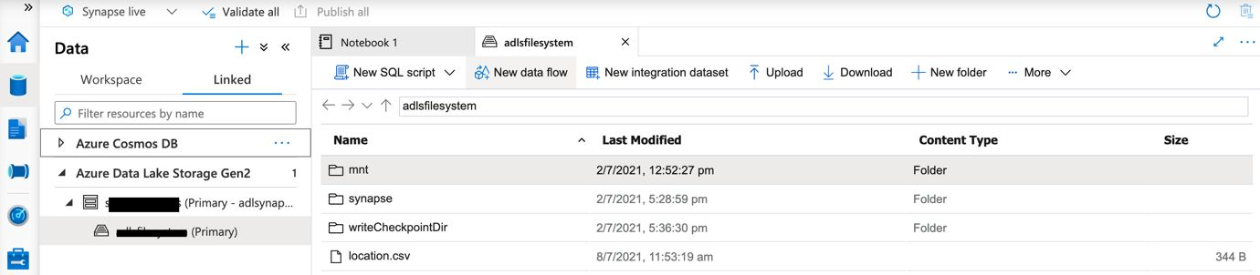 Upload the file to the ADLS filesystem