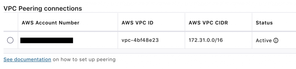 "VPC Peering connections: Status ""Active"""